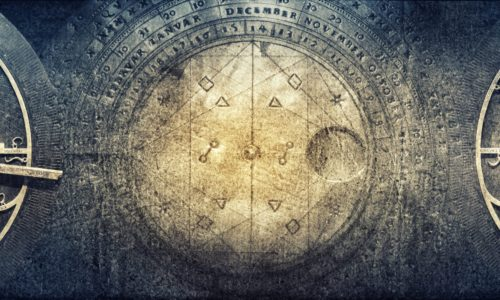 Ancient astronomical instruments on vintage paper background. Abstract old conceptual background on history, mysticism, astrology, science, etc. Retro style.
